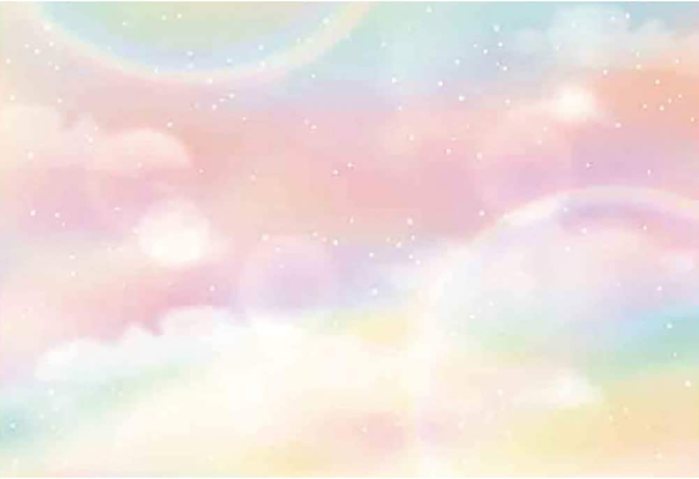 YEELE 10x8ft Pastel Color Sky Backdrop Kids Birthday Party Photography Background Sweet Stars Newborn Infant Baby Portrait Dessert Table Room Decoration Photobooth Props Digital Wallpaper