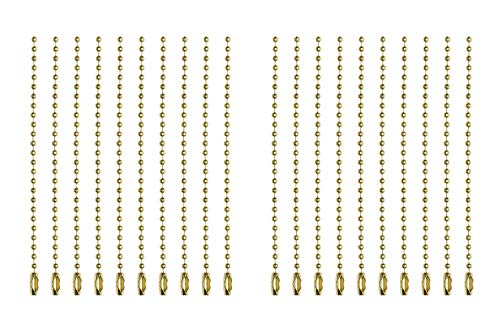 Shapenty 2.4mm Diameter Metal Ball Bead Chains Connector Clasp Extension Keychain Tag Key Rings for Jewelry Finding Making Accessories, 4 Inch, 20PCS (Gold) ()