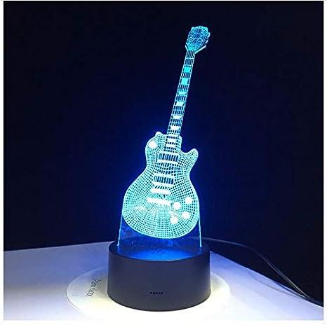 3D Lámpara de Guitarra Eléctrica Led 7 Lámpara de Mesa Usb de ...