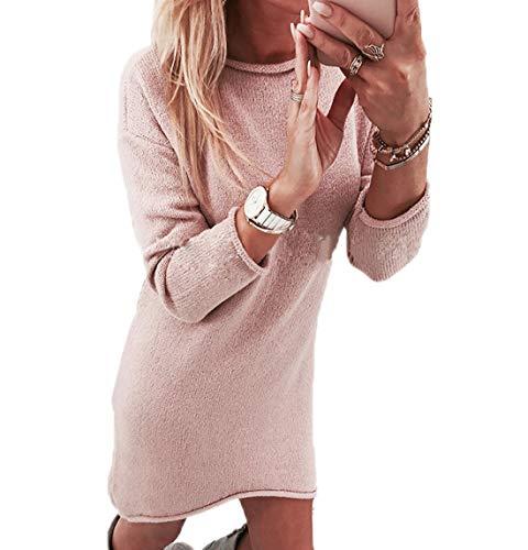 Da Vestito Rotondo Moda Rosa Tinta Abito Festa Partito Collo Autunno Unita Casual Vestiti Sweater Maglione Corto Donna Lunga Inverno Manica xChQtdsr