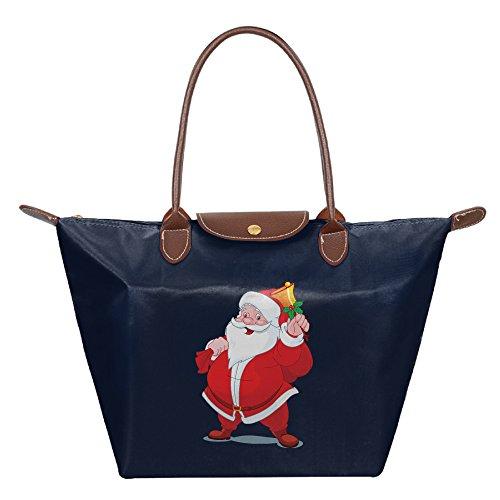 Christmas Santa Claus Waterproof Nylon Foldable Cosmetic Bags For Women Navy ()