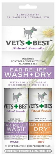 Vet's Best Ear Relief Wash & Dry 2pk