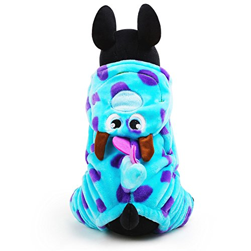 LUCKSTAR Blue Fashionable Pet Supplies Puzzle Bobble Style Pet Flannelette Winter Clothes with Hat Dog Costume Warm Casual Coat Hoodie for Dog (XS) by LUCKSTAR (Image #5)