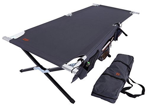 (Tough Outdoors Camp Cot [XL] with Free Organizer & Storage Bag - Military Style Folding Bed for Camping, Traveling, Hunting, and Backpacking - Lightweight, Heavy-Duty & Portable Cots for Adults)