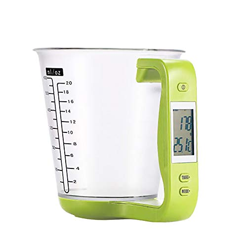 dc163b0d8cf3 Unicoco Electronic Measuring Jug Green with Tare Function Kitchen LCD  Digital Measuring Cup