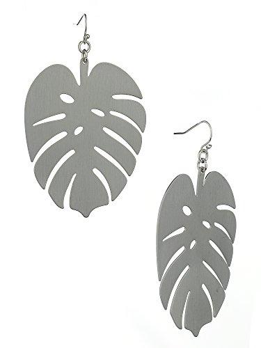 Women's Flat Metal Palm Tree Leaf Pierced Dangle Earrings, -