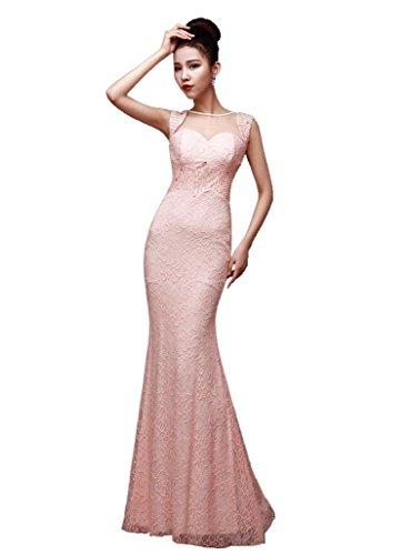 Meerjungfrau Zurück Schlitz Kurzarm Paillette Abendkleider Emily Transparent Pink Beauty wWYnP5t