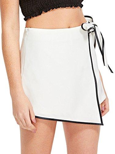 WDIRA Womens Contrast Binding Knot Side Mid Waist Asymmetrical Skirt Shorts