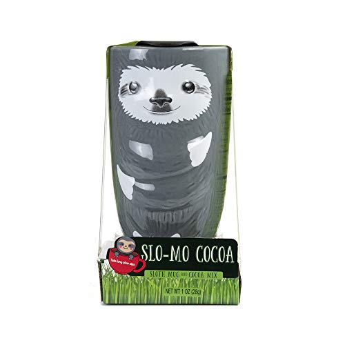 (Slo-Mo Cocoa Sloth Mug and Cocoa Mix Gift Set | Delicious Hot Cocoa in a Sloth-Shaped Ceramic Mug That's Perfect for Camping Trips, Birthdays, Pick-Me-Ups and)