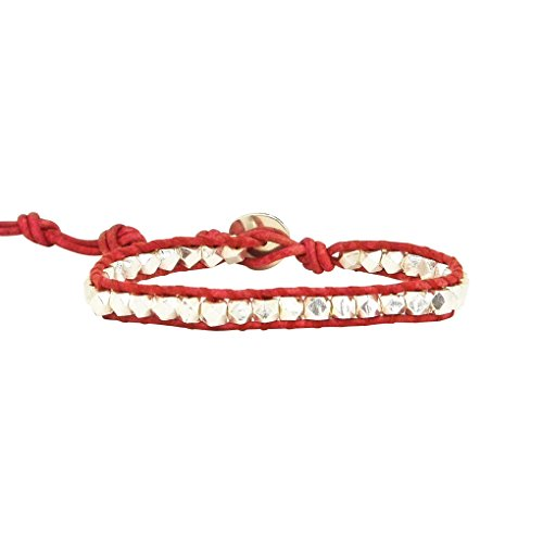 Chan Luu Single Wrap Bracelet in Silver Nuggets and Red Leather by Chan Luu