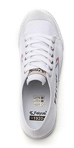 Feiyue Fe Lo Ii Origine Sneakers Bianche In Tela Di Cotone Blu Rosso Per Donna 5 Bianche