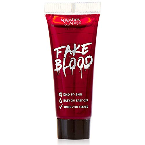 Realistic Fake Blood - Face and Body Paint - 10ml - Pretend Costume and Dress Up Makeup by Splashes & Spills - New & Improved Formula! (Tube Blood Fake)