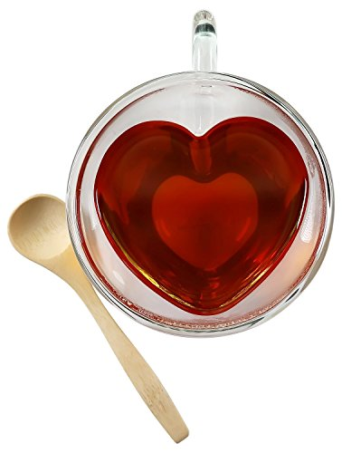 Tea Cup Glass Heart Shaped Double Wall Insulated Clear Glass Tea and Coffee Cup 8.5 Ounces with Bamboo Teaspoon by Princeton Wares (1)