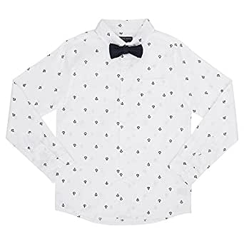 French Toast Little Boys' Long Sleeve Woven Poplin Roll up Shirt With Bow Tie, White, 4