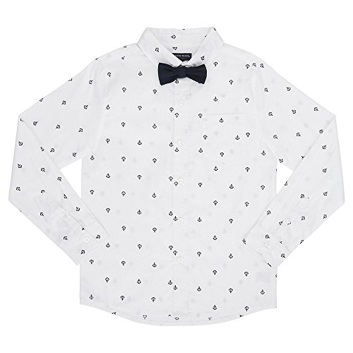 French Toast Boys' Big Long Sleeve Woven Poplin Roll Up Shirt with Bow Tie, White, 16 -