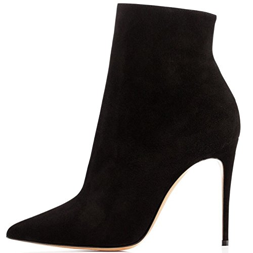 Negro Alto 10cm Zapatos Para ante De Tacón Mujer Cremallera Botines Elashe Botas Con 0ZqPwFZ