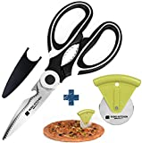Multifunctional Kitchen Shears, Stainless Steel Scissors by Dodo Kitchen + Pizza Wheel Slicer Ultra Sharp Heavy Duty Cutter Professional Gift Set