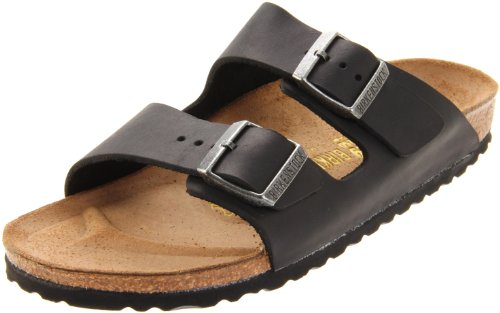 Birkenstock Unisex Arizona Slide Fashion Sandals, Black Leather, 36 - Slides Arizona Mens