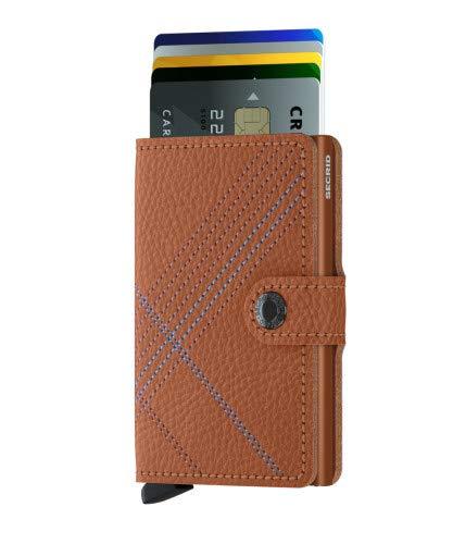 Secrid - Secrid Mini Wallet Stitch Embroidered Vegetable-Tanned leather (Linea Caramello)