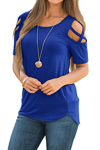- Adreamly Women's Casual Summer Short Sleeve Loose Strappy Cold Shoulder Tops Basic T Shirts Blouses Royal Blue Medium