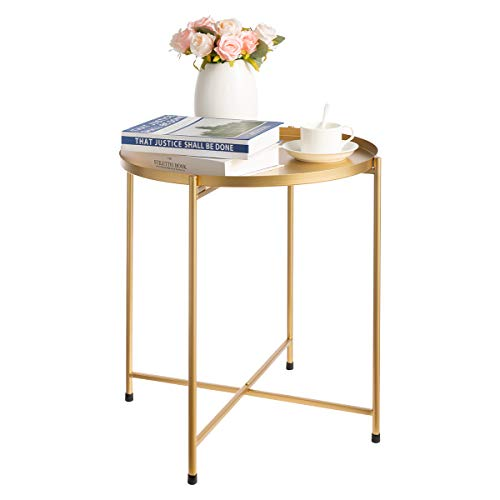 HollyHOME Round Tray Metal End Table, Anti-Rust and Waterproof Indoor Outdoor Snack and Coffee Table, Accent Tea Table, Sofa Table for Living Room, D 18.27 x H 20.55 , Gold