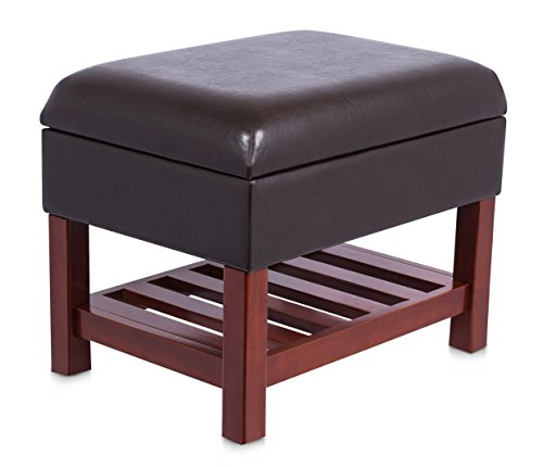 Birdrock Home Upholstered Storage Stool Ottoman Faux