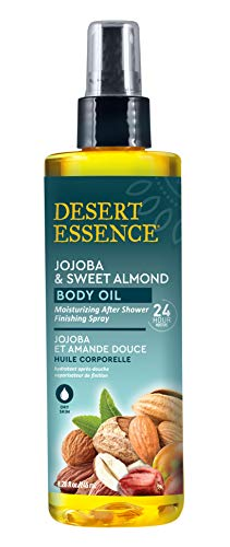 - Desert Essence Jojoba & Sweet Almond Body Oil - 8.28 fl oz - Moisturizing After Shower Finishing Spray - Long Lasting 24 Hour Moisture - Smooth and Illuminate Skin - Non Greasy Lightweight Oil
