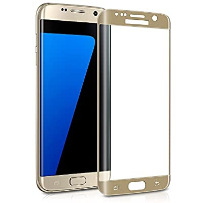 Galaxy S7 Edge Screen Protector, Capshi S7 Edge Tempered Glass 3D Curved Full Coverage Film HD Ultra Clear 9H Hardness (Anti-Scratch, Anti-Bubble) Screen Protector for Samsung Galaxy S7 Edge (Gold)