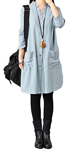 Soojun Womens Collar Cotton Button