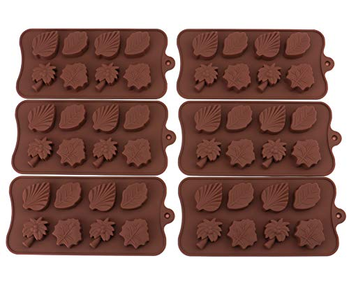 - Bekith 6 Pack 8-Cavity Leaf Shape Silicone Mold Trays for Making Soap, Candle, Candy, Chocolate or Party Novelty Gift (Leaf Shape)
