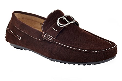 Driving Vanucci Slip 533 On Karl Men's Cut Adolfo Shoes Loafers Low Franco Textured Driving Brown CqRwF