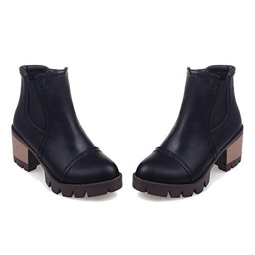 Ladies Platform Heels Leather Boots Black Pull Chunky On Imitated BalaMasa AqTd77