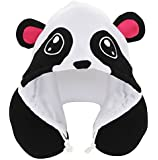 KOVOT Animal Panda Hoodie Travel Pillows, White/Black