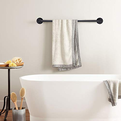 Pipe Black Towel Bar Wall Mounted Extra Long Bathroom Hardware Kitchen Cabinet Towel Rack Clothing Rods Towel Bars