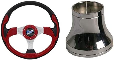 Madjax 13 Red Ultra2 Steering Wheel w//Chrome Hub Adapter Club Car Precedent