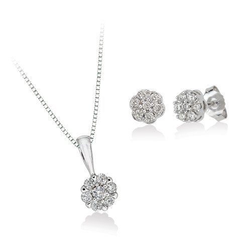 KATARINA Diamond Floral Cluster Earrings and Pendant Necklace Jewelry Set in 10K White Gold (1/2 cttw)