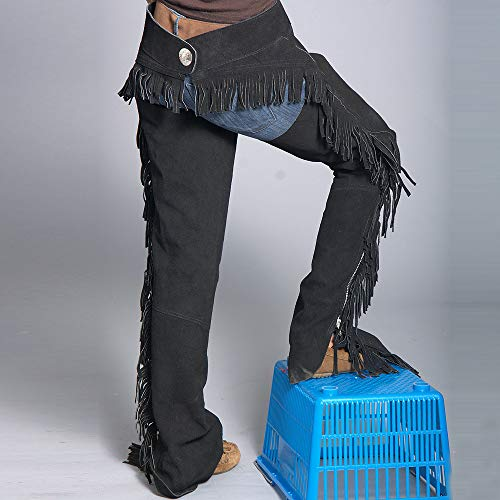 COMFYTACK X-Small Black Suede Leather Western Horse Saddle Show Chaps - Saddle Suede Show