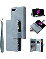 UEEBAI Wallet Case for iPhone SE 2020 iPhone 7 iPhone 8, Premium Vintage PU Leather Magnetic Closure Handbag Zipper Pocket Kickstand Card Holder Slots with Wrist Strap Shockproof Flip Case - Sky Blue