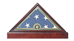 Premium Flag Display Case Military Shadow Box For 5'X9. 5' Memorial, Burial/Funeral/Casket Flag Folded, With Pedestal