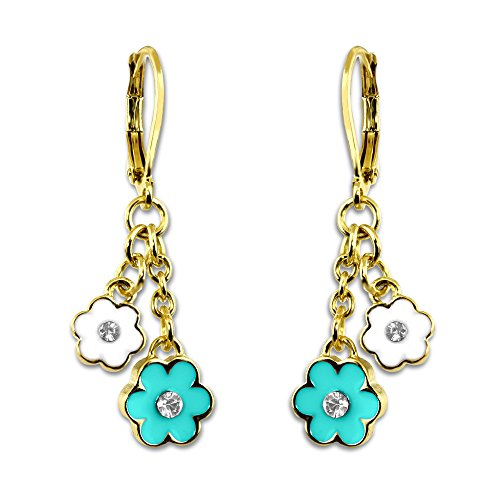 Flower and Crystal Dangle Earrings Girls Jewelry Sets Christmas Jewelry for Girls 18k Gold Plated Best Christmas Gifts