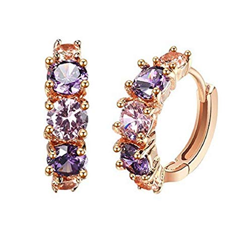 - TOPOB Fashion Women Stud Earrings, 1 Pair Classic Colored Zircon Earrings Allergen-Free Jewelry Gift (Gold 1)