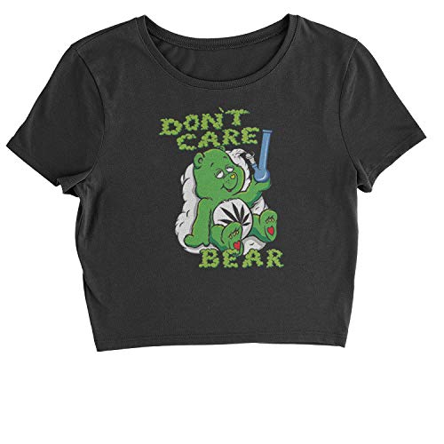 Cropped T-Shirt Don't Care Bear with Bong T-Shirt Small Black (Bong Bear Don T Care T Shirt)