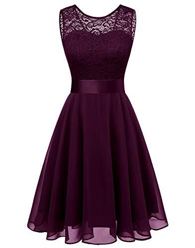(BeryLove Women's Short Floral Lace Bridesmaid Dress A-line Swing Party DressBLP7005GrapeM )