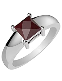 0.85ctw, Genuine Ruby 5x5mm Square & Solid .925 Sterling Silver Rings