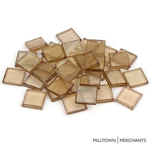 Milltown Merchants™ 7/8″ (22mm) Cappuccino Iridescent Glass Mosaic Tiles, 3 Pound (48 oz) Bulk Assortment of Mosaic Tiles