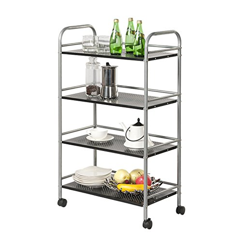 4 Shelf Rolling Cart (4-Tier Rolling Cart Metal Home & Kitchen Storage organization Shelf Utility Cart, GEYUEYA Home)