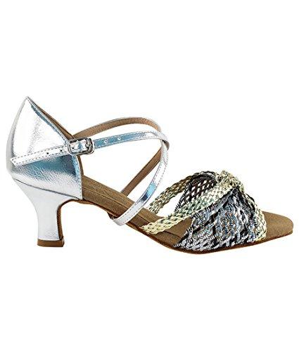 Veldig Fine Ballroom Latin Tango Salsa Dans Sko For Kvinner S92309 2-tommers Hæl + Sammenleggbar Børste Bunt