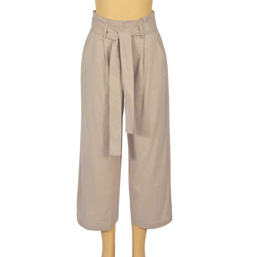Pervobs Women Solid Casual Drawstring Belt High Waisted Loose Pockets Wide Leg Pants Yoga Trousers(XL, Beige) by Pervobs Women Pants (Image #4)