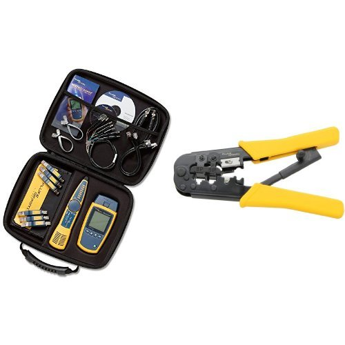 (Fluke Networks MS2-KIT Network Cable Tester Kit with Probe and  11212530 Modular Crimper bundle )