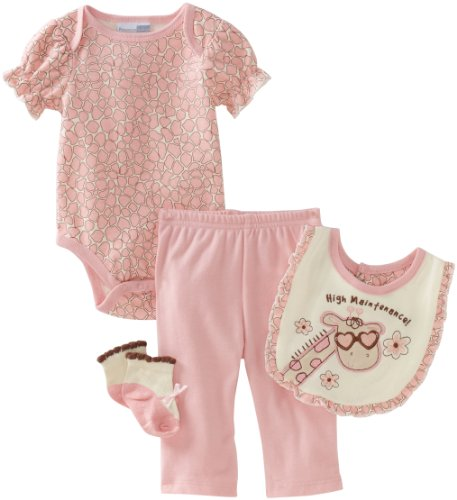 Vitamins Baby-girls Newborn High Maintenance 4 Piece Creeper Pant Set